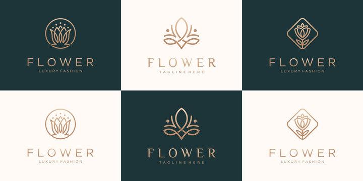 Set of rose flower logo design  with luxury line art style