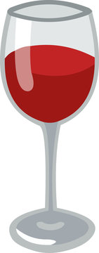 Vector emoticon illustration of a glass of wine