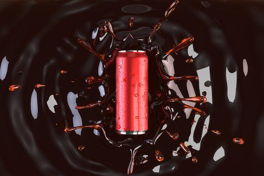 Soft drink can on water splash of mockup 3d render model for product design.
