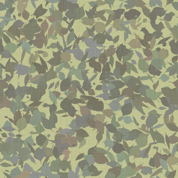Army camouflage leaves seamless pattern on fabric army green brown textile background. Autumn nature design.