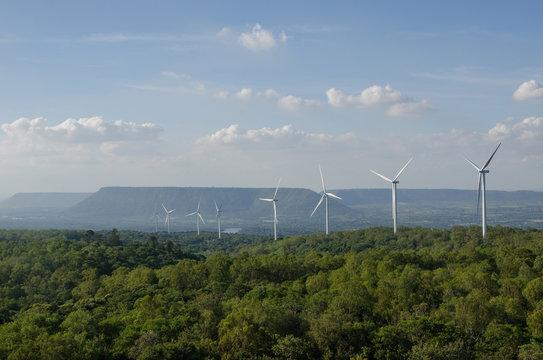 ฺฺBeautiful Wind Turbine on mountain at Lamtakong dam, Nakhonratchasima, Thailand.