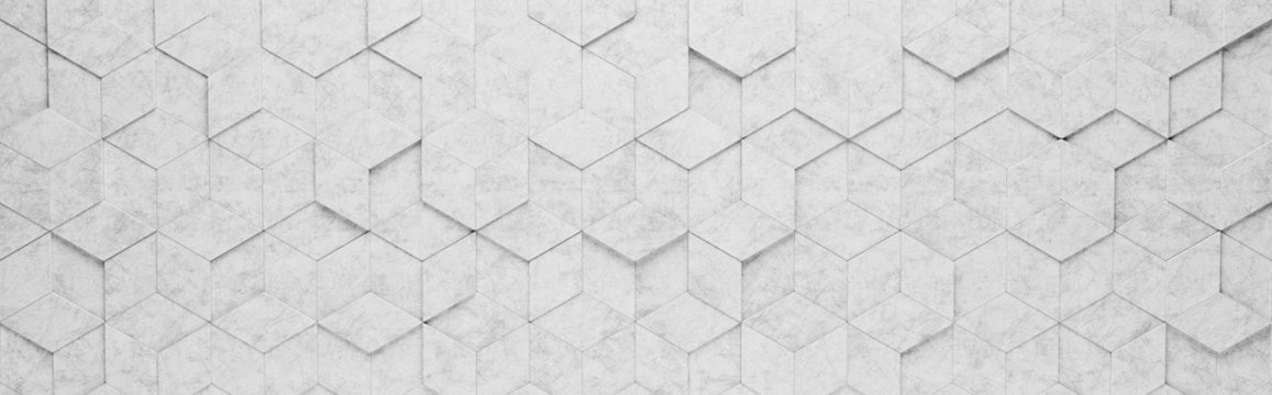 Light Gray Rhombus and Hexagons 3D Pattern Background