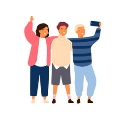 Group of smiling friends or classmates taking selfie use smartphone vector flat illustration. Happy children photographing together hold mobile phone isolated. Kids hugging enjoying friendship