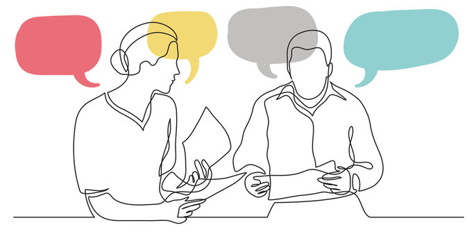 adult man and woman having conversation together - one line drawing with speech bubbles