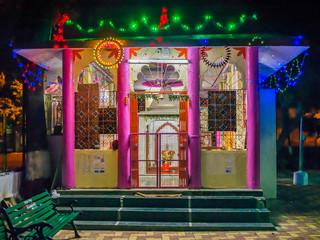 Amravati Maharashtra, India-October 10th, 2014:Night photo of decorated Hanuman temple.
