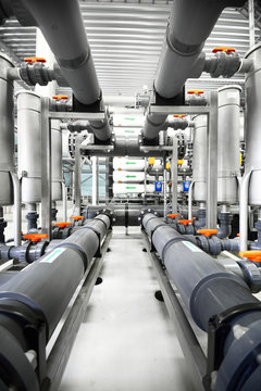 Reverse osmosis industrial city water treatment station. Wide angle perspective
