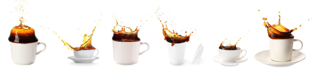 Photo sur Plexiglas Cafe Cup of hot coffee with splash on white background