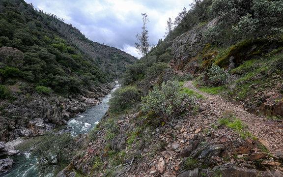 NEVADA CITY, CALIFORNIA, UNITED STATES - May 02, 2019: South Yuba hiking trail