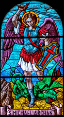 coloured stained glass of Saint Michael Archangel