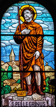 coloured stained glass of Saint Peregrine