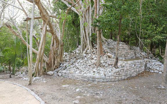 TULUM, QUINTANA ROO, MEXICO - Jul 28, 2019: Zona Arqueologica Xelha ruins
