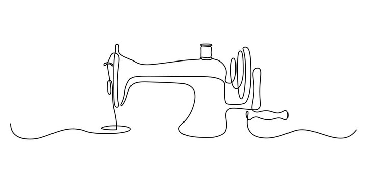 Sewing machine in continuous line art drawing style. Abstract old style sewing-machine for atelier or tailor sign design. Minimalist black linear sketch on white background. Vector illustration