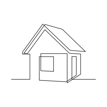Abstract small house in continuous line art drawing style. Real estate minimalist black linear sketch isolated on white background. Vector illustration