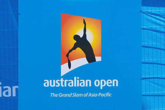 Melbourne, Australia - Jan 7, 2016: Billboard with Australian Open logo. The Australian Open is a major tennis tournament held annually in Melbourne, Australia.