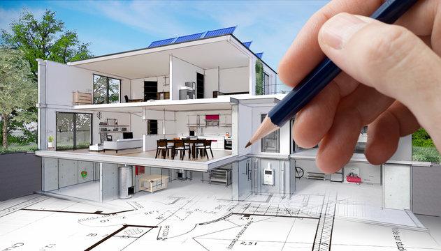 Projet de construction et vue en coupe de l'intérieur d'une belle maison moderne d'architecte avec cave sous-sol étage et garage avec panneaux solaires