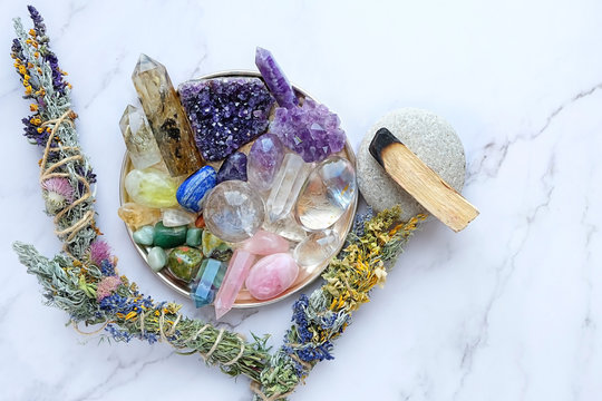 Chakra gemstones crystals and nature magic things. Witchcraft Ritual, energy healing minerals. Witchcraft Ritual, energy healing minerals. flat lay