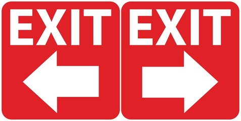 Social distancing concept for preventing coronavirus covid-19 with wording exit in white on red background. Wall mural