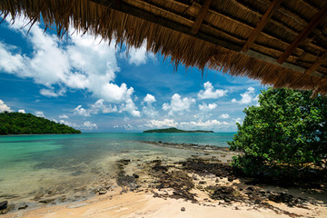 beach view from tropical bungalow in koh ta tiev cambodia