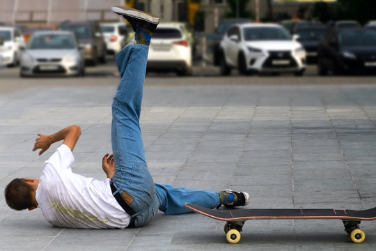 Skateboarder's hard fall