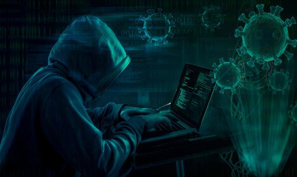 hooded hacker covid19 coronavirus phishing attack scam