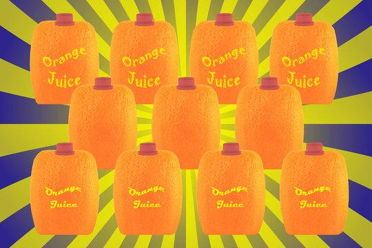 orange juice square packaging on a retro sunbrust background