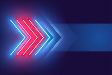 arrow style neon light effect background design