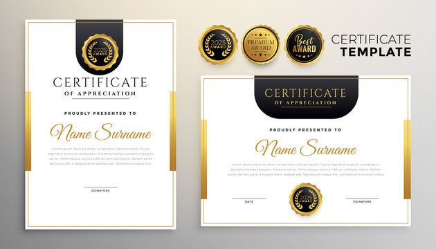 elegant certificate of appreciation modern template set of two