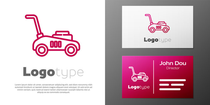 Logotype line Lawn mower icon isolated on white background. Lawn mower cutting grass. Logo design template element. Vector Illustration.