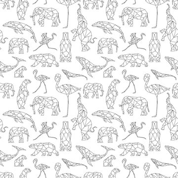 Seamless pattern with polygon animals. Low poly bear, flamingo, whale, elephant. Triangle graphic, origami style. Abstract geometric modern design. Vector illustration for fabric, printing, t-shirts
