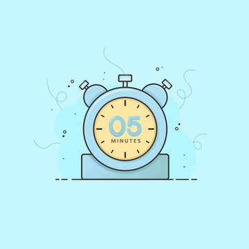 5 minutes alarm clock, timer, stopwatch vector time symbol. 5 minutes vector icon flat illustration.