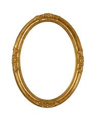Vintage golden oval round picture frame