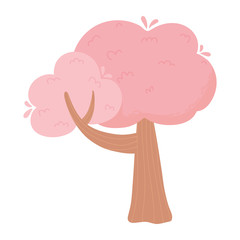 Wall Mural - pink tree plant nature cartoon isolated white background design