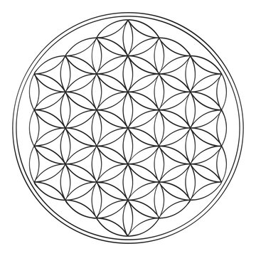 vector icon with ancient symbol flower of life for your design