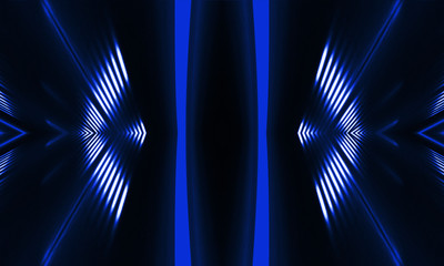 Fotomurales - Blue neon background. Abstract blue dark background with lines and rays. Light tunnel. Symmetrical reflection.