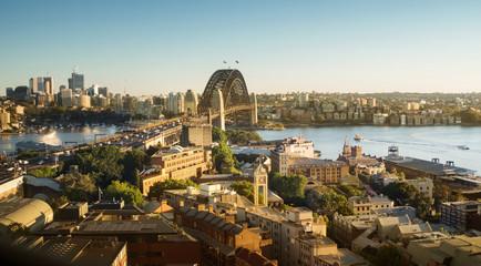 Fototapete - Aerial view of Sydney with Harbour Bridge, Australia