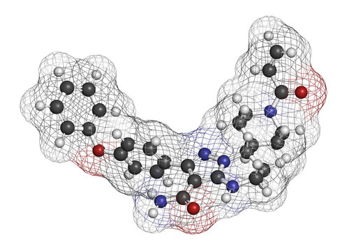 Zanubrutinib cancer drug molecule. 3D rendering. Atoms are represented as spheres with conventional color coding: hydrogen (white), carbon (grey), etc