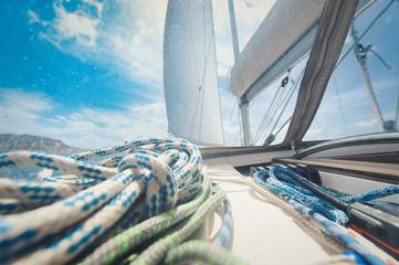 Closeup shot of a sailing yacht deck background