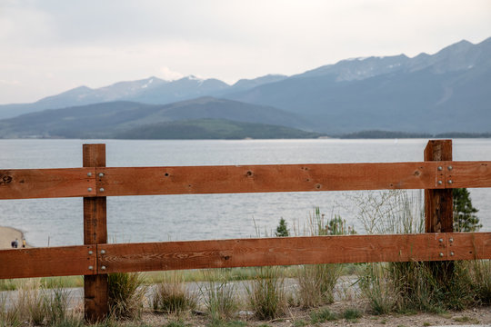 fence on the lake in Silverthorne, Colorado