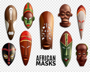 African Masks Transparent Icon Set