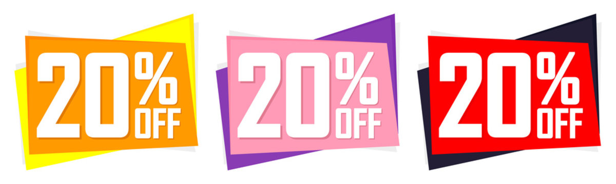 Set Sale 20% off banners, discount tags design template, lowest price, vector illustration