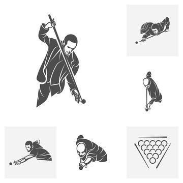 Set of Player Billiards logo design vector. Illustration. Silhouette Player Billiard