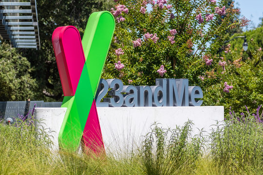 August 3, 2020 Sunnyvale / CA / USA - The 23andme logo at their new headquarters in Silicon Valley; Based on a saliva sample, 23andMe provides reports about the customer's health, traits and ancestry
