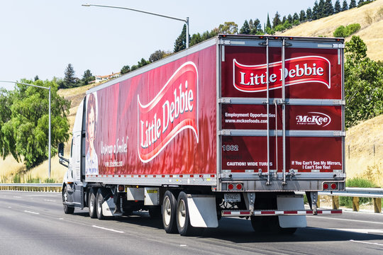 July 26, 2020 Fremont / CA / USA - Little Debbie branded truck driving on the freeway; Little Debbie is a brand of desserts owned by McKee Foods Corporation