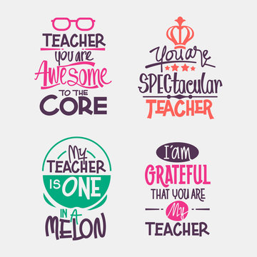 Happy Teachers Day Motivation Quote. Cutting sticker or paper for Decoration and Greeting Card