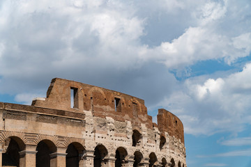 architectural details of Colosseum in Rome, Italy