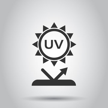 UV radiation icon in flat style. Ultraviolet vector illustration on white isolated background. Solar protection business concept.