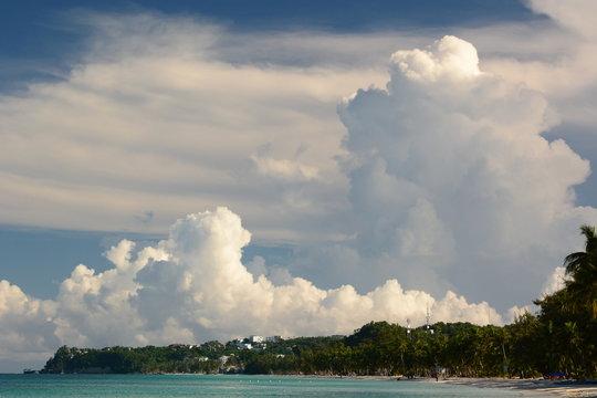 Big clouds approaching White beach. Boracay island. Western Visayas. Philippines
