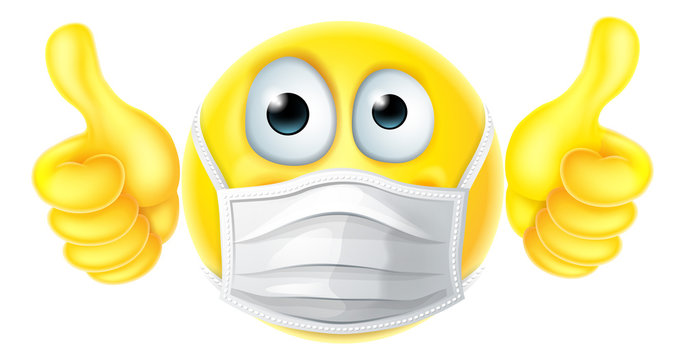 An emoticon emoji cartoon face icon wearing PPE medical mask and giving thumbs up