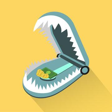Money Trap Creation, vector illustration, Financial trap