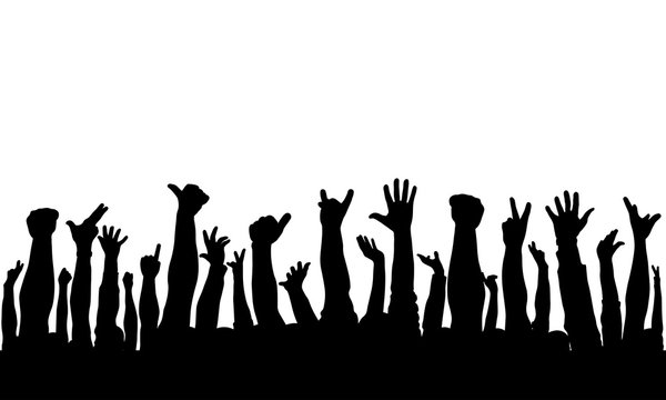 Raised hands of crowd of people, silhouettes. Vector illustration